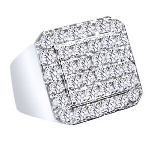 2.00 Ct Simulated Round Cut 14K White Gold Over Engagement Men's Ring