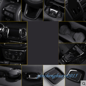 18PCS Black ABS Car Interior Kit Cover Trim For Jeep Compass 2017-2019