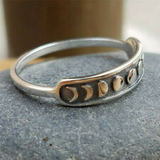 Handmade Vintage Silver Moon Phase Finger Ring Moon Band Jewelry Size 6-10 Gift