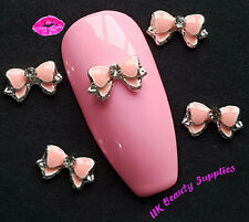 3D Metal Nail Art PINK DOUBLE BOWS Rhinstones Diamantes Gems Charms - UK SELLER