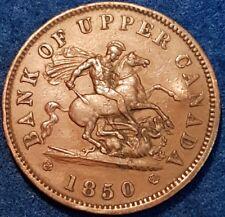 1850 Bank Of Upper Canada Penny Token   ID #10-27