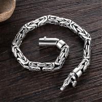 925 Sterling Silver Byzantine Buckle Bracelets Mens Chain Handmade Heavy Bangle