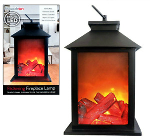 FLICKERING FIREPLACE LAMP Log Fire Flame Effect Led Lantern Battery Christmas