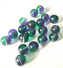 20pcs purple and green colour glass round beads 10mm
