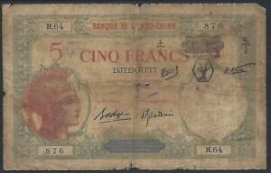 French Somaliland (Djibouti), 5 Francs, 1943 provisional issue, P-11.