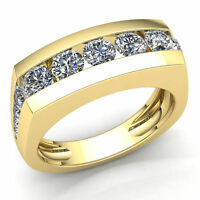 2Ct Natural Round Cut Diamond Mens Channel Set Anniversary Wedding Band 14k Gold