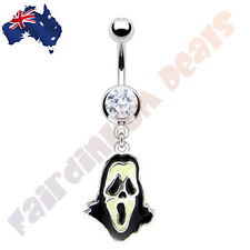 Scary Ghost Belly Ring with Clear Gem