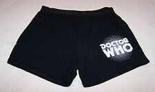 Doctor Who Logo Mens Black Printed Cotton Boxer Shorts Size L New