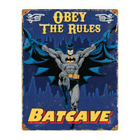 "DC Comics - Batman - Batcave ""Obey The Rules"" Heavy Metal Embossed Sign"