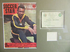Pele, Display,-- Hand Signed Card plus Ticket--Brazil v Italy 1963