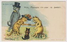 """Artist postcard - """"A Cats Life"""" Her Mother-In-Law Is Sweet by Louis Wain"""