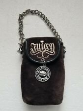Juicy Couture Brown Velour Patent Leather Monogram Phone Case with key chain
