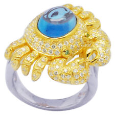 De Buman Two-tone Sterling Silver 5.05ctw Swiss Blue Topaz Crab Ring, Size 7