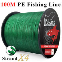 PULLINE 100M PE Fishing Line Strong 4 Strands Green Braided Fishing Line 6-100LB