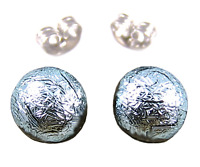 """Tiny DICHROIC GLASS Post EARRINGS 1/4"""" 7mm Silver Platinum Round STUDS Dots"""