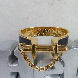 RACHEL ZOE Bullet Magnetic Bracelet 14K Gold Plated & Black Leather - UNIQUE!