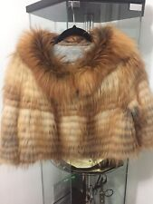 NATURAL RED FOX FUR CROPPED WOMEN JACKET SZ 44