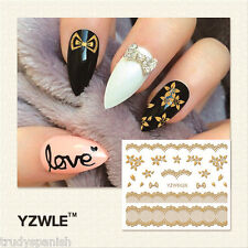 3D Nail Art Stickers Decals Metallic Gold Lace Flowers Bows Gel Polish (6026)