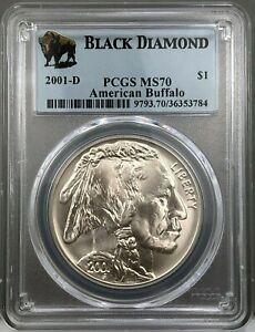2001-D American Buffalo Silver Dollar ~ Black Diamond Label ~ PCGS MS70 ~ NICE!
