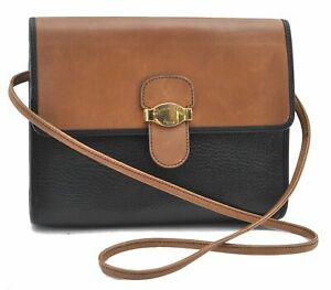 Authentic Christian Dior Shoulder Cross Body Bag Leather Black Brown E0078