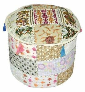 Indian Pouffe Ottoman Handmade  Patchwork Square Fabric Hassock Floor Pouffe