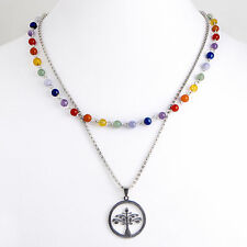 Double Necklace, Stainless Steel, Gemstone Chain, TREE OF LIFE Pendant, 7 Chakra