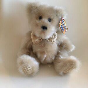 Rare Chad Valley Retro Vintage Light Brown Corduroy Bear Tag Bow Soft Toy Plush