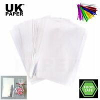 CLEAR CELLOPHANE SWEET GIFT HAMPER FOOD WRAP BAGS LARGE SMALL CELLO + TWIST TIES