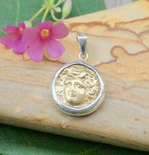 Gold Medusa Mini Coin Pendant - 18K Gold - Sterling Silver