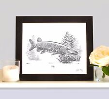 PIKE Fishing Fish Art Print MOUNTED Picture Present For Lure Predator Angler