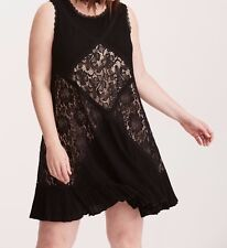 Torrid Mixed Fabric & Lace Trapeze Dress Black 2X 18 20 2 #38879