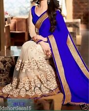 saree exclusive Women's Tamanna Bollywood Inspired Georgette Saree  182 blue