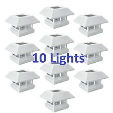 10x White 4x4 Post Cap LED Lights Outdoor Landscape Deck Patio Fence Solar Lamps