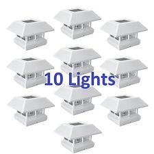 10x White 4x4 Post Cap LED Lights Outdoor Landscape Deck Patio Fence Solar Lamps