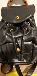Bamboo Backpack Leather Gucci bag strappy 10in * 9in Great preowned condition