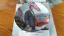 "Knowles Lincoln Man Of America ""The Gettysburg Address"" Collectors Plate Certifi"