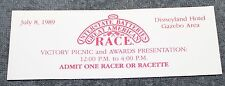 RARE THE GREAT AMERICAN RACE 1989 DISNEYLAND HOTEL VICTORY PICNIC TICKET