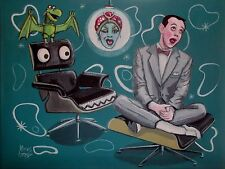 EL GATO GOMEZ RETRO TV PEE-WEE HERMAN PEE WEE'S PLAYHOUSE TV EAMES CHAIR PRINT