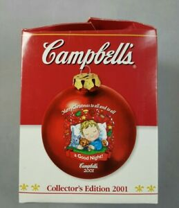 """Campbells Soup Christmas Ornament Red Glass 2001 Collectors Edition 3.5"""" NEW"""