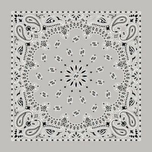 Four Pack Classic Gray Paisley Bandanas FREE SHIPPING Made In The USA!