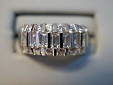 Beautiful 14k Solid White Gold Cubic Zirconia Engagement Wedding Ring Size 8