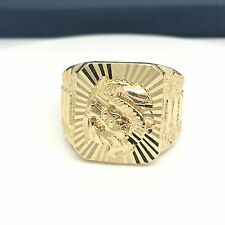 18k Yellow Gold Men's Dragon Diamond Cut Large Ring.