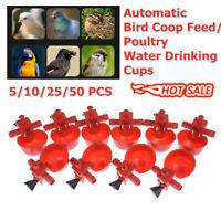 50Pcs Automatic Water Drinker Cup Chicken Coop Poultry Chook Bird Turkey Drink