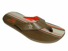 Original Penguin Men's Shuffle Cub Thong Sandals Flip Flop Size 9 Brown Tan NIB