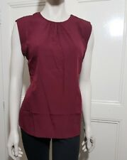 Ladies womens burgundy designed by B.YOU Pussy Bow Sleeveless Blouse/Top Size14