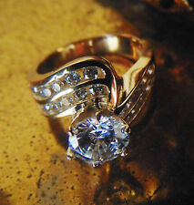 14k 2.25 ct Round Cut Solid  Yellow Gold Big Solitaire Diamond Engagement Ring