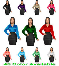 Casual Office Wear Women Satin Shirt Long Sleeve Collar Button Down Blouse Top