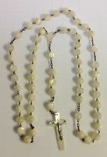 ANTIQUE STERLING & MOTHER OF PEARL BEADS ROSAR