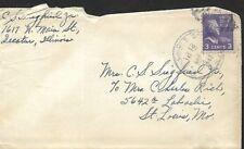 USA 1942 COVER, VIA CHICAGO DECATUR & ST LOUIS RAIL ROAD & LETTER #3