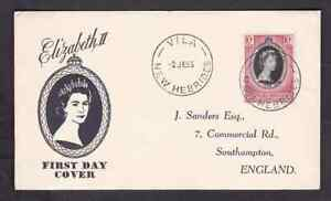 British New Hebrides 1953 FDC 1st day cover QE II coronation Sanders